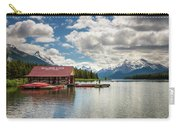 Boat House And Canoes On A Jetty At Maligne Lake In Canada Carry-all Pouch