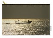 Boat Silhouette In Sunrise At Marina Beach, Chennai Carry-all Pouch