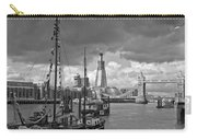 Boats And Shard And Tower Bridge Bw Carry-all Pouch