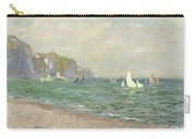 Boats Below The Cliffs At Pourville Carry-all Pouch by Claude Monet