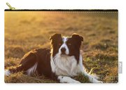 Border Collie At Sunset With Warm Colors Carry-all Pouch