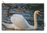 Boston Public Garden Swan Amongst The Ducks Ruffled Feathers Carry-all Pouch
