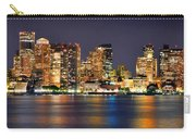 Boston Skyline At Night Panorama Carry-all Pouch