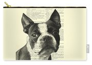 Boston Terrier Portrait In Black And White Carry-all Pouch