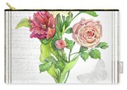 Botanical Vintage Style Watercolor Floral 3 - Peony Tulip And Rose With Butterfly Carry-all Pouch