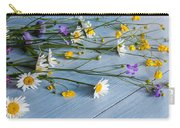 Bouquet Of Wild Flowers On A Wooden Carry-all Pouch