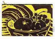 Bowl Of Fruit Black On Yellow Carry-all Pouch