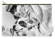 Boy And Dog Hiding Under Blanket Carry-all Pouch