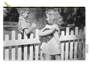 Boy And Girl Talking Over Fence, C.1940s Carry-all Pouch