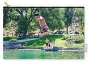 Boy Jumping Off The Board Into Dierkes Lake In Snake River Near Twin Falls-idaho   Carry-all Pouch