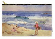 Boy On The Sand Carry-all Pouch by Joaquin Sorolla
