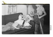 Boy With Baseball Vs. Napping Dad Carry-all Pouch