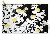 Branches Of White Yellow Leaves And Flowers At Night, Black Background Carry-all Pouch