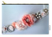 Bridal Sash Belt With Flowers And Rhinestones Carry-all Pouch