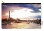 Bridge Of Alexandre IIi And Eiffel At Violet Sunset Carry-all Pouch