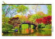 Bridge With Red Bushes In Spring Carry-all Pouch
