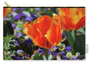Bright And Colorful Orange And Red Tulip Flowering In A Garden Carry-all Pouch