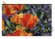 Bright Colored Garden With Striped Tulips In Bloom Carry-all Pouch