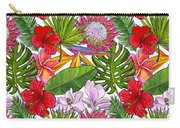 Brightly Colored Tropical Flowers And Ferns  Carry-all Pouch