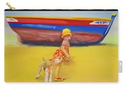 Brightly Painted Wooden Boats With Terrier And Friend Carry-all Pouch