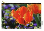 Brilliant Bright Orange And Red Flowering Tulips In A Garden Carry-all Pouch