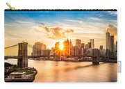 Brooklyn Bridge And The Lower Manhattan Skyline At Sunset Carry-all Pouch