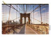 Brooklyn Bridge At Sunset, New York, Usa Carry-all Pouch
