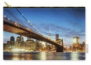 Brooklyn Bridge Panoramic At Night, New York, Usa Carry-all Pouch
