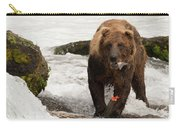 Brown Bear Eating Salmon Tail Beside Rocks Carry-all Pouch
