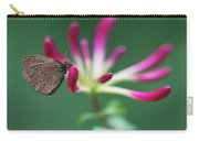 Brown Butterfly Resting On The Pink Plant Carry-all Pouch
