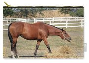 Brown Horse Eating Hay Ranch Scene Carry-all Pouch