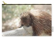 Brown Porcupine On A Fallen Log Carry-all Pouch