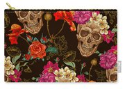 Brown Skulls And Flowers Carry-all Pouch