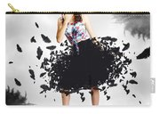 Brunette Pin-up Woman In Gorgeous Feather Skirt Carry-all Pouch