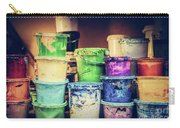 Buckets Of Liquid Paint Standing In A Workshop. Carry-all Pouch