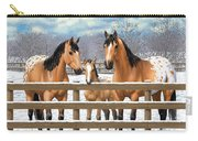 Buckskin Appaloosa Horses In Snow Carry-all Pouch by Crista Forest