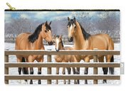 Buckskin Quarter Horses In Snow Carry-all Pouch by Crista Forest