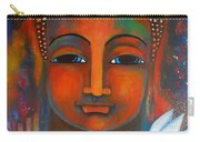 Buddha With A White Lotus In Earthy Tones Carry-all Pouch by Prerna Poojara