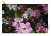 Buds And Petals- Pink Roses- Rose Bush- Floral Art Carry-all Pouch