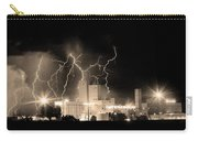 Budweiser Lightning Thunderstorm Moving Out Bw Sepia Crop Carry-all Pouch by James BO  Insogna