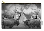 Buffalo Herd Among Teepees Of The Blackfoot Tribe Carry-all Pouch