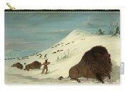 Buffalo Lancing In The Snow Drifts. Sioux Carry-all Pouch