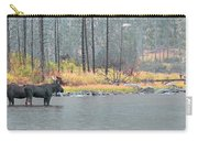Bull And Cow Moose In East Rosebud Lake Montana Carry-all Pouch