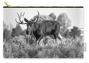 Bull On A Blue Sky Day Black And White Carry-all Pouch