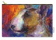 Bull Terrier Dog Painting Carry-all Pouch by Svetlana Novikova