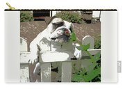 Bulldog Sniffing Flower At Garden Fence Carry-all Pouch