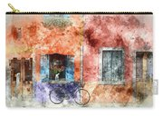 Burano Italy Digital Watercolor On Photograph Carry-all Pouch