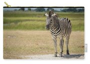 Burchell's Zebra On Grassy Plain Facing Camera Carry-all Pouch