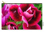Burgundy Rose And Rose Bud Carry-all Pouch