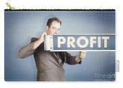 Business Man Holding Financial Profit Street Sign Carry-all Pouch